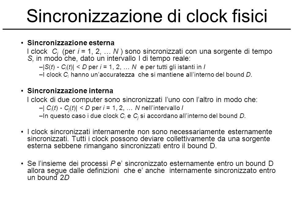 Sincronizzazione di clock fisici Sincronizzazione esterna I clock C i (per i = 1, 2, … N ) sono sincronizzati con una sorgente di tempo S, in modo che