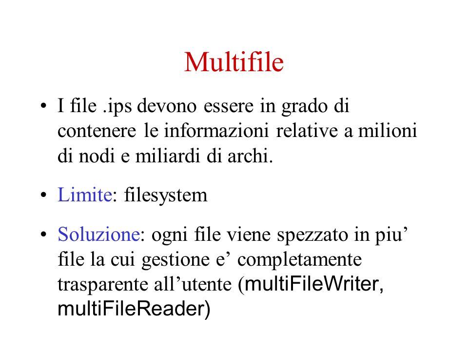 Multifile I file.ips devono essere in grado di contenere le informazioni relative a milioni di nodi e miliardi di archi.