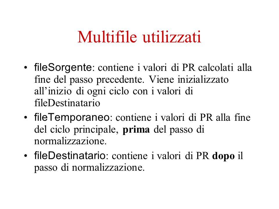 Multifile utilizzati fileSorgente : contiene i valori di PR calcolati alla fine del passo precedente.