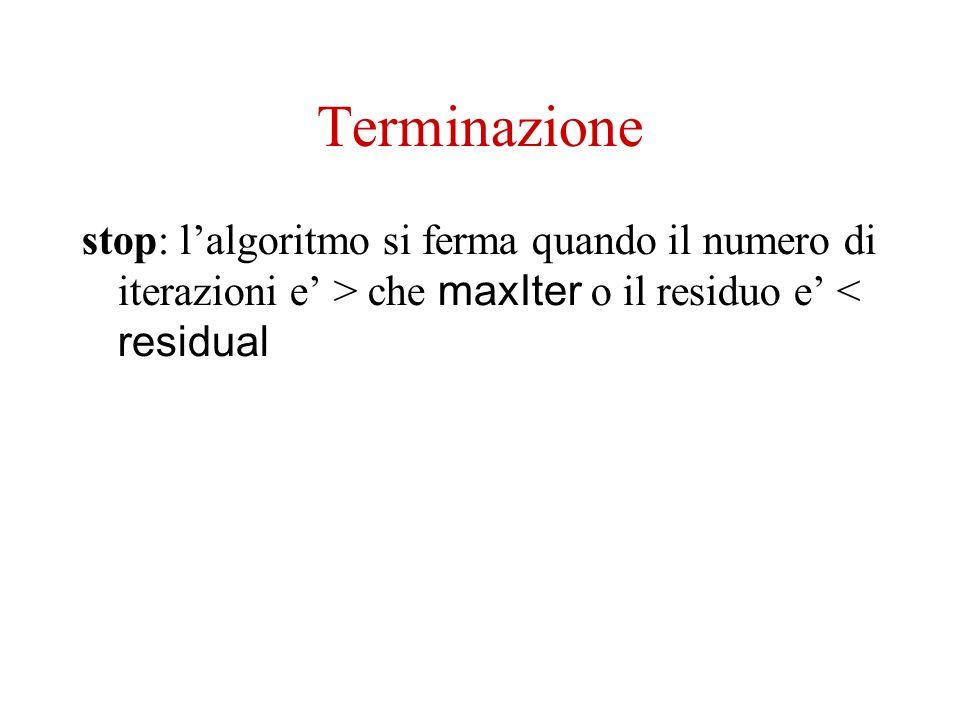 Terminazione stop: lalgoritmo si ferma quando il numero di iterazioni e > che maxIter o il residuo e < residual
