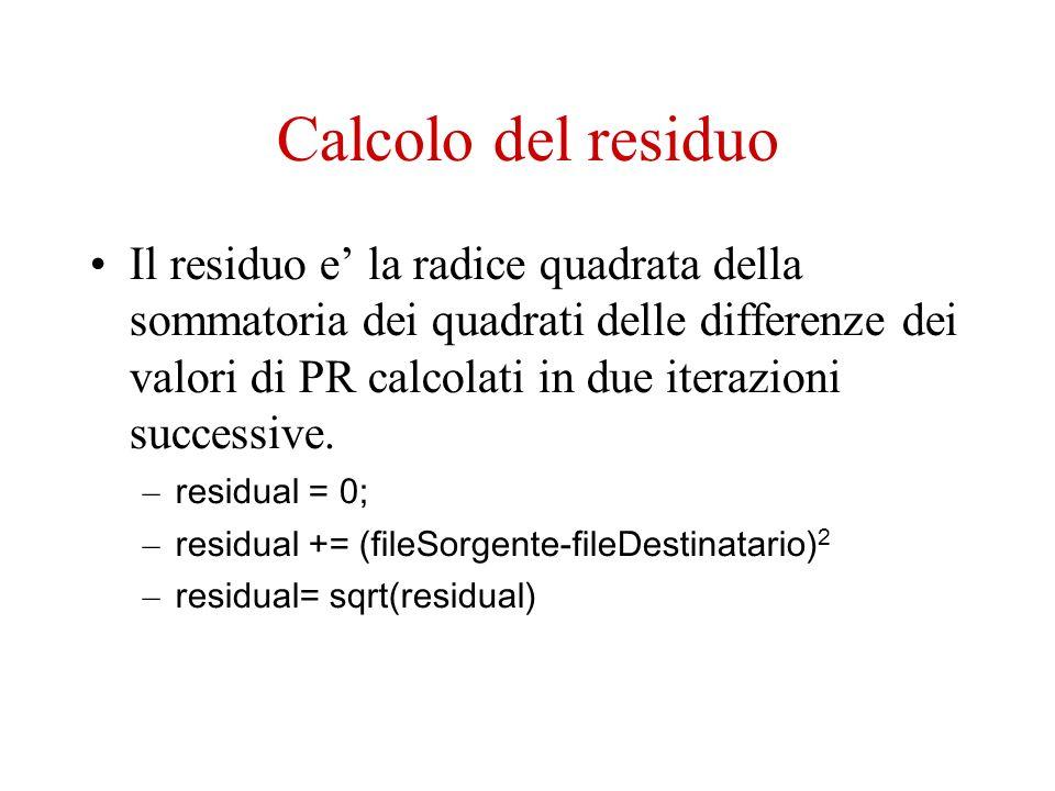 Calcolo del residuo Il residuo e la radice quadrata della sommatoria dei quadrati delle differenze dei valori di PR calcolati in due iterazioni successive.