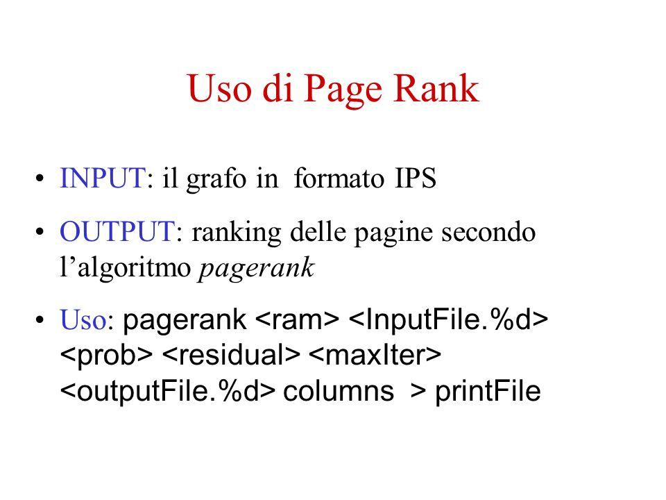 Uso di Page Rank INPUT: il grafo in formato IPS OUTPUT: ranking delle pagine secondo lalgoritmo pagerank Uso: pagerank columns > printFile