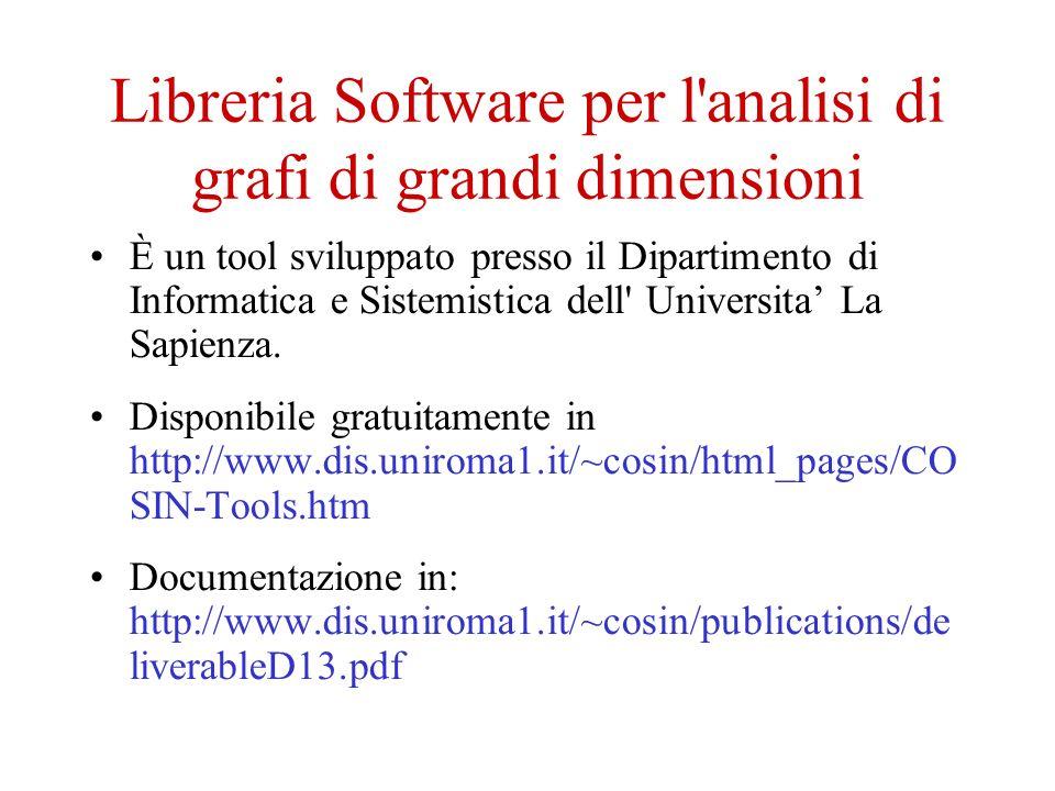 Libreria Software per l analisi di grafi di grandi dimensioni È un tool sviluppato presso il Dipartimento di Informatica e Sistemistica dell Universita La Sapienza.