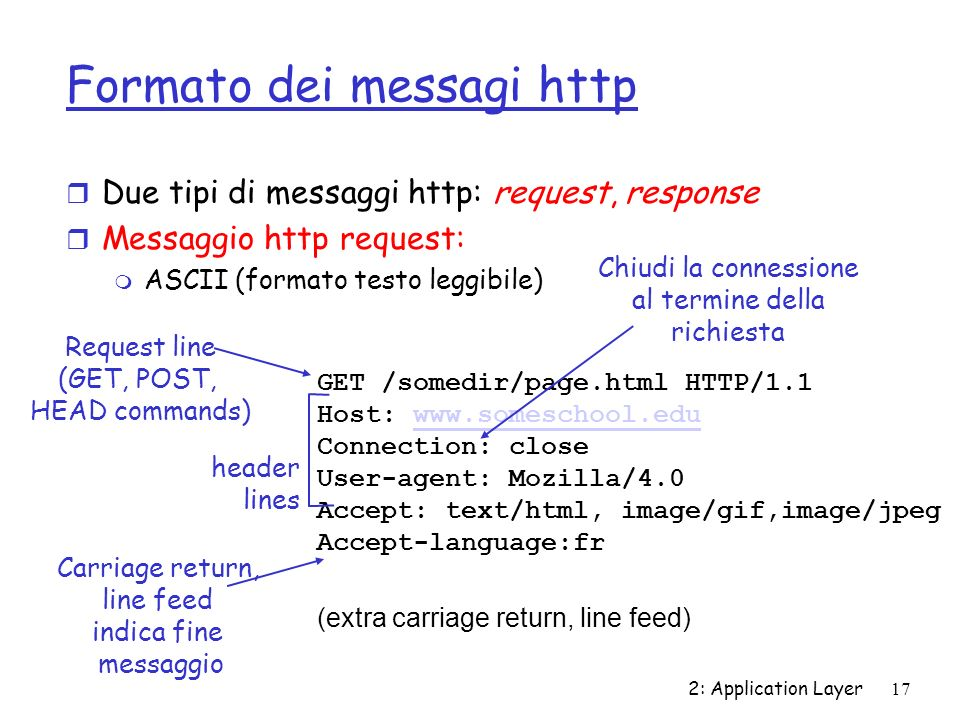 2: Application Layer17 Formato dei messagi http r Due tipi di messaggi http: request, response r Messaggio http request: m ASCII (formato testo leggib