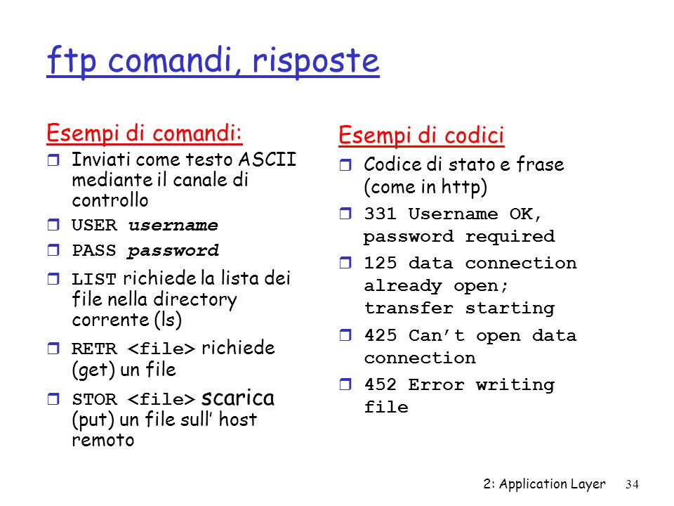 2: Application Layer34 ftp comandi, risposte Esempi di comandi: r Inviati come testo ASCII mediante il canale di controllo USER username PASS password