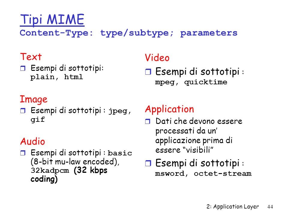 2: Application Layer44 Tipi MIME Content-Type: type/subtype; parameters Text Esempi di sottotipi: plain, html Image Esempi di sottotipi : jpeg, gif Au