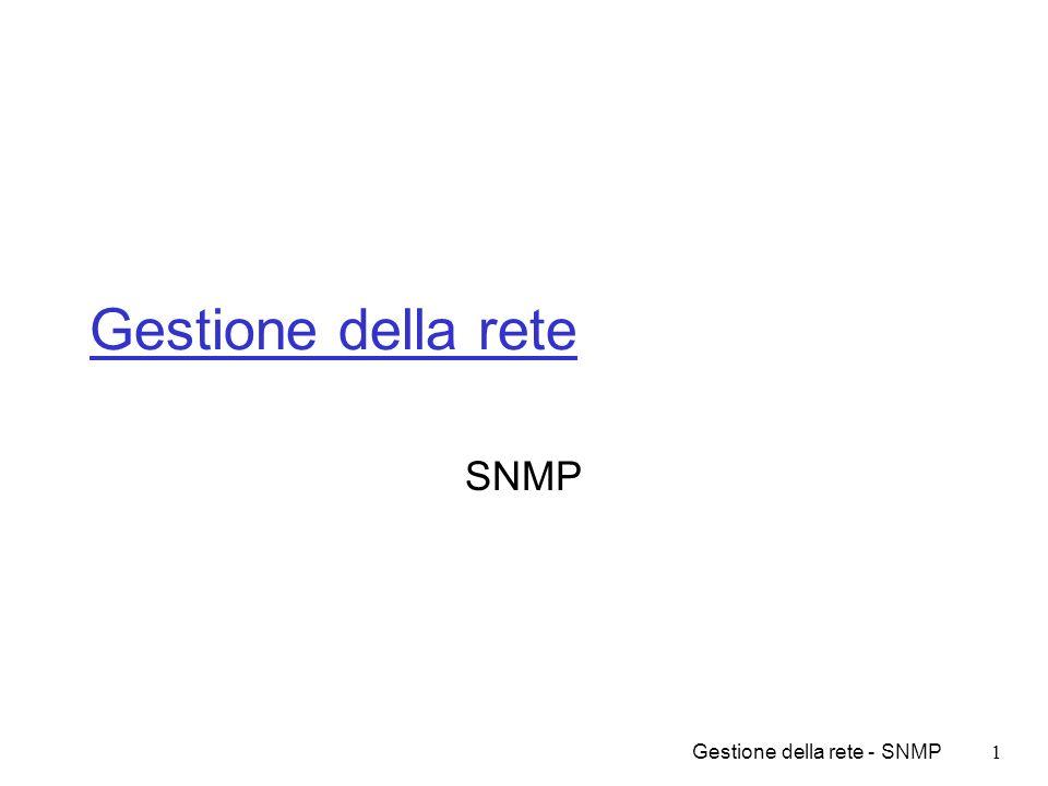 Gestione della rete - SNMP12 Problemi - i dati Come definire i dati Dispositivi assai diversi tra loro Oggetti atomici, tabelle, strutture Dati locali/globali Dati statici/dinamici Codifica Accesso Denominazione