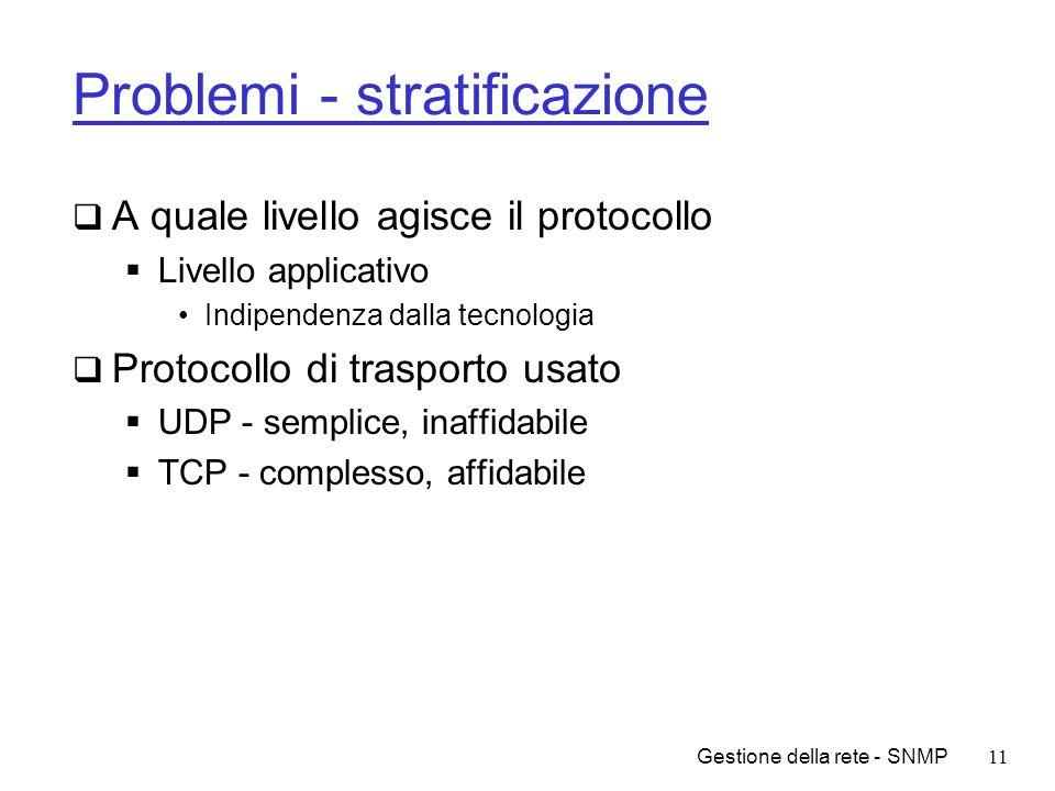 Gestione della rete - SNMP11 Problemi - stratificazione A quale livello agisce il protocollo Livello applicativo Indipendenza dalla tecnologia Protoco