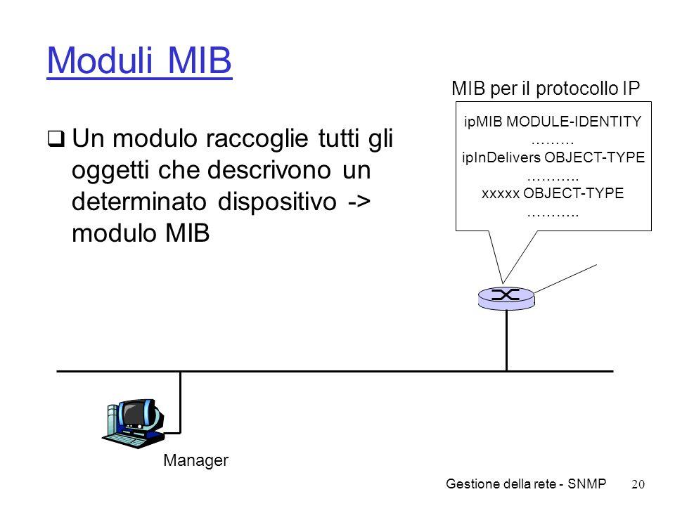 Gestione della rete - SNMP20 Moduli MIB Un modulo raccoglie tutti gli oggetti che descrivono un determinato dispositivo -> modulo MIB Manager ipMIB MO