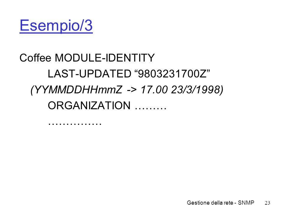 Gestione della rete - SNMP23 Esempio/3 Coffee MODULE-IDENTITY LAST-UPDATED 9803231700Z (YYMMDDHHmmZ -> 17.00 23/3/1998) ORGANIZATION ……… ……………