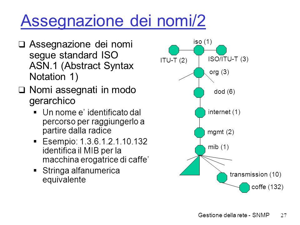 Gestione della rete - SNMP27 Assegnazione dei nomi/2 Assegnazione dei nomi segue standard ISO ASN.1 (Abstract Syntax Notation 1) Nomi assegnati in mod