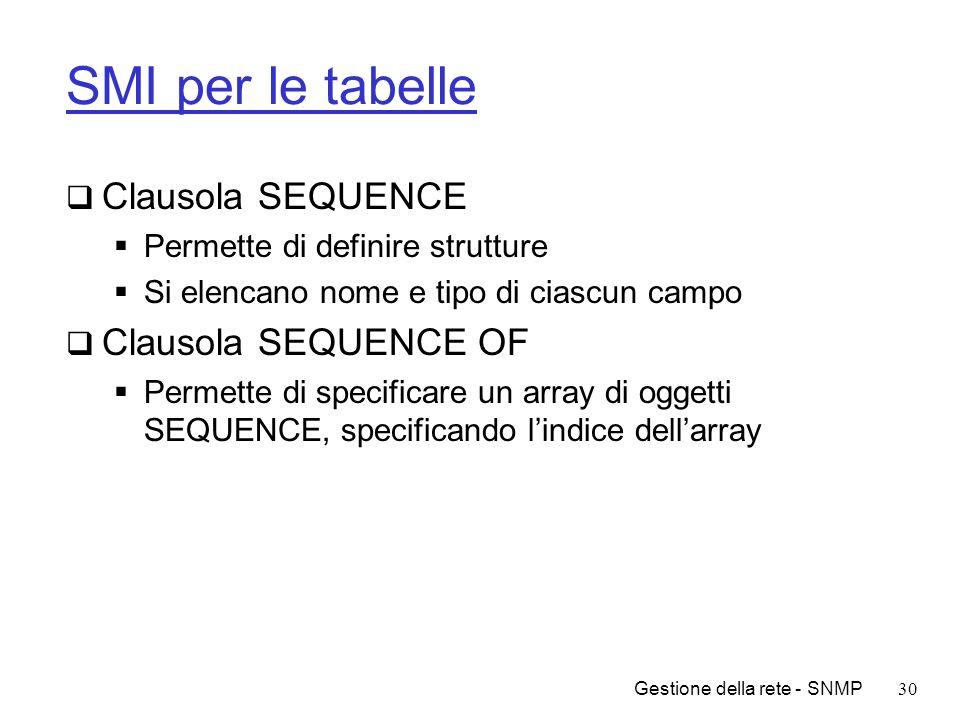 Gestione della rete - SNMP30 SMI per le tabelle Clausola SEQUENCE Permette di definire strutture Si elencano nome e tipo di ciascun campo Clausola SEQ