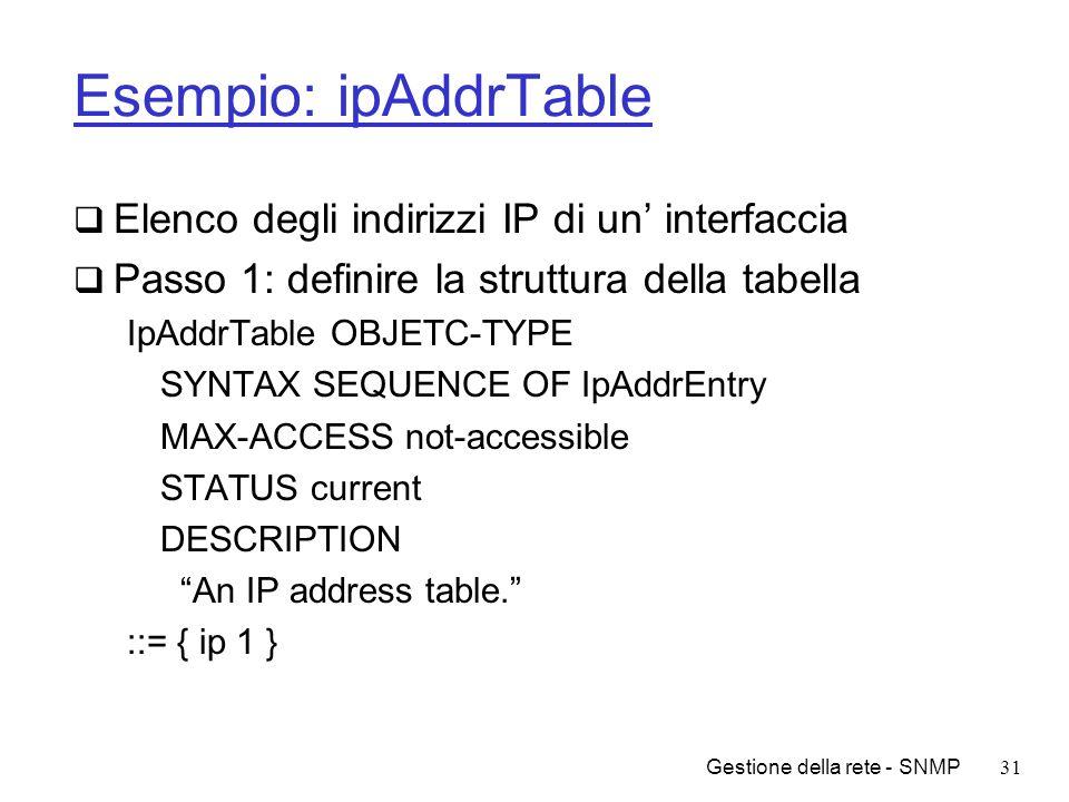 Gestione della rete - SNMP31 Esempio: ipAddrTable Elenco degli indirizzi IP di un interfaccia Passo 1: definire la struttura della tabella IpAddrTable