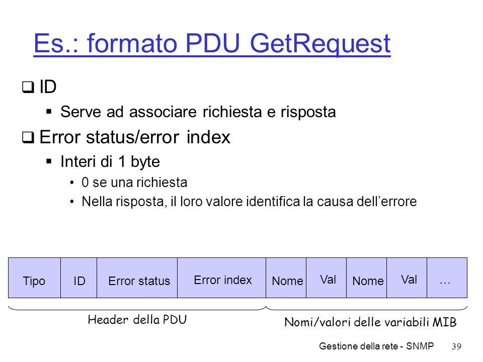 Gestione della rete - SNMP39 Es.: formato PDU GetRequest ID Serve ad associare richiesta e risposta Error status/error index Interi di 1 byte 0 se una