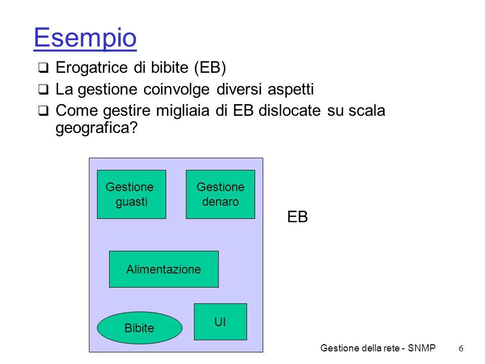 Gestione della rete - SNMP27 Assegnazione dei nomi/2 Assegnazione dei nomi segue standard ISO ASN.1 (Abstract Syntax Notation 1) Nomi assegnati in modo gerarchico Un nome e identificato dal percorso per raggiungerlo a partire dalla radice Esempio: 1.3.6.1.2.1.10.132 identifica il MIB per la macchina erogatrice di caffe Stringa alfanumerica equivalente ITU-T (2) iso (1) ISO/ITU-T (3) org (3) dod (6) mgmt (2) transmission (10) coffe (132) internet (1) mib (1)
