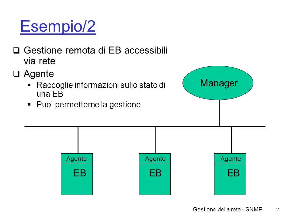 Gestione della rete - SNMP8 Altri esempi Controllo elementi di rete Controllo remoto di host Controllo del traffico Allocazione di risorse Individuazione di attacchi Verifica di SLA (Service Level Agreement) Sicurezza