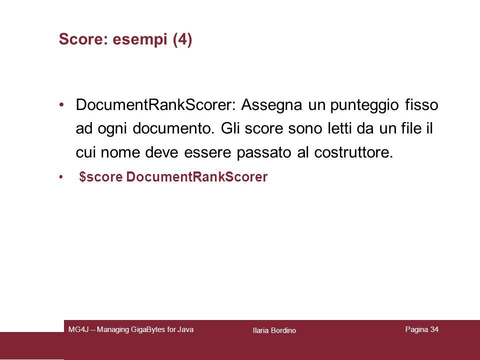 Ilaria Bordino MG4J -- Managing GigaBytes for JavaPagina 34 Score: esempi (4) DocumentRankScorer: Assegna un punteggio fisso ad ogni documento.