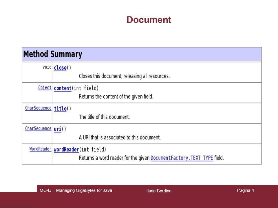 Ilaria Bordino MG4J -- Managing GigaBytes for JavaPagina 4 Document