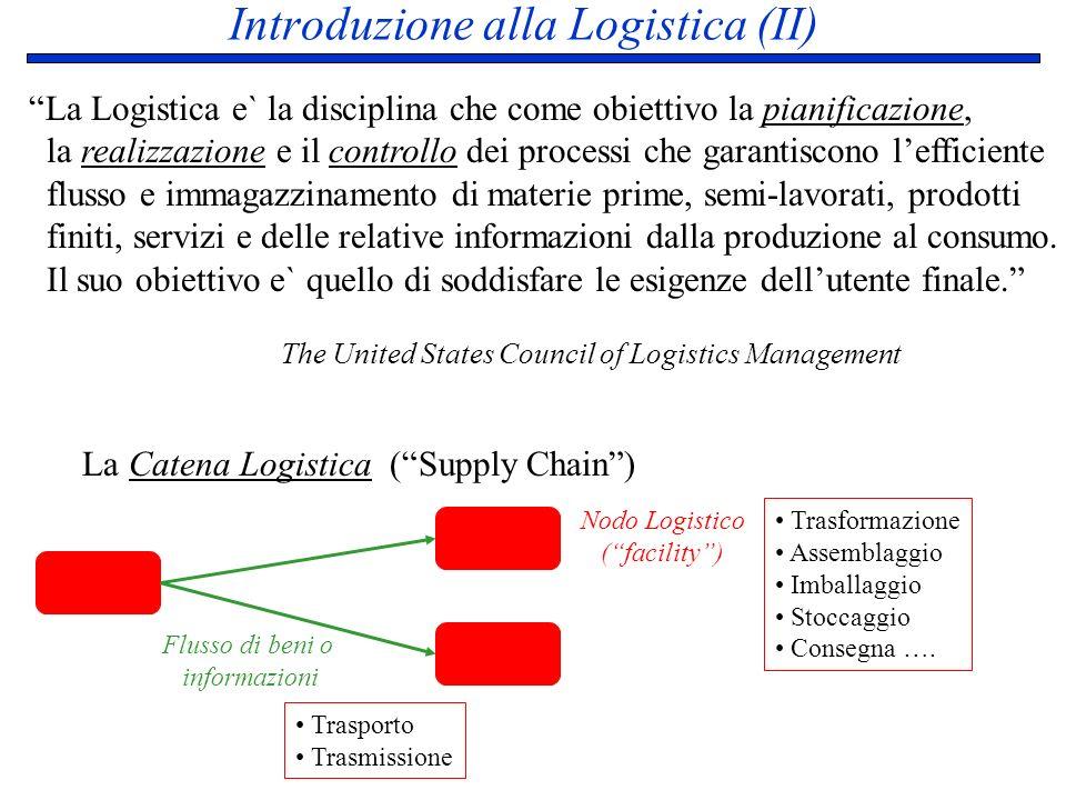 Introduzione alla Logistica (II) La Logistica e` la disciplina che come obiettivo la pianificazione, la realizzazione e il controllo dei processi che