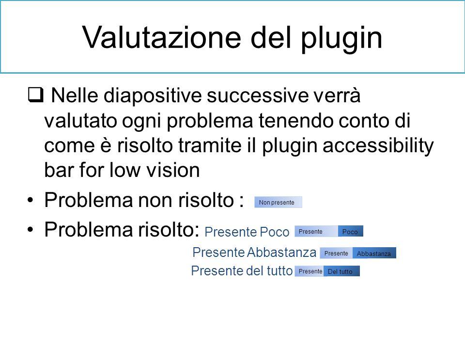 Nelle diapositive successive verrà valutato ogni problema tenendo conto di come è risolto tramite il plugin accessibility bar for low vision Problema