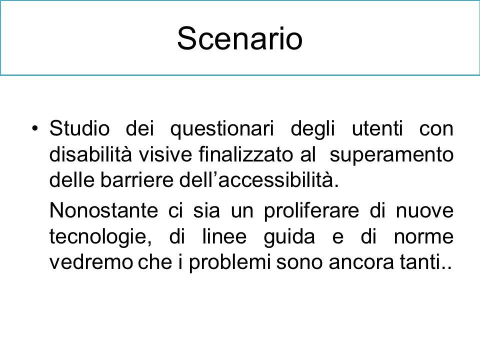 Studio dei questionari degli utenti con disabilità visive finalizzato al superamento delle barriere dellaccessibilità. Nonostante ci sia un proliferar