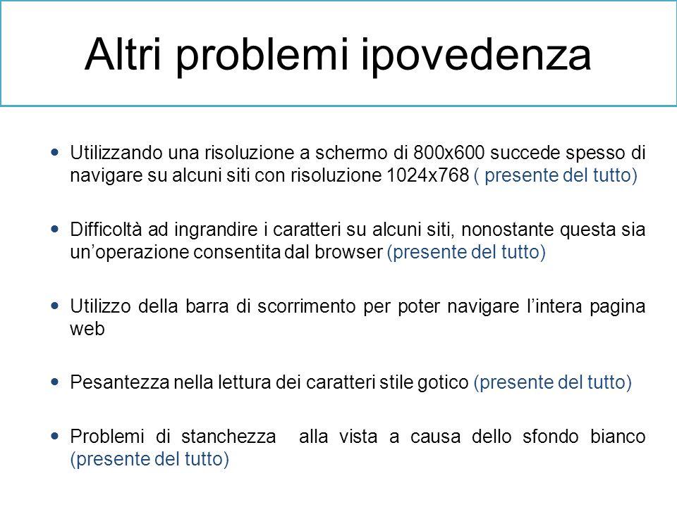 Altri problemi ipovedenza Utilizzando una risoluzione a schermo di 800x600 succede spesso di navigare su alcuni siti con risoluzione 1024x768 ( presen