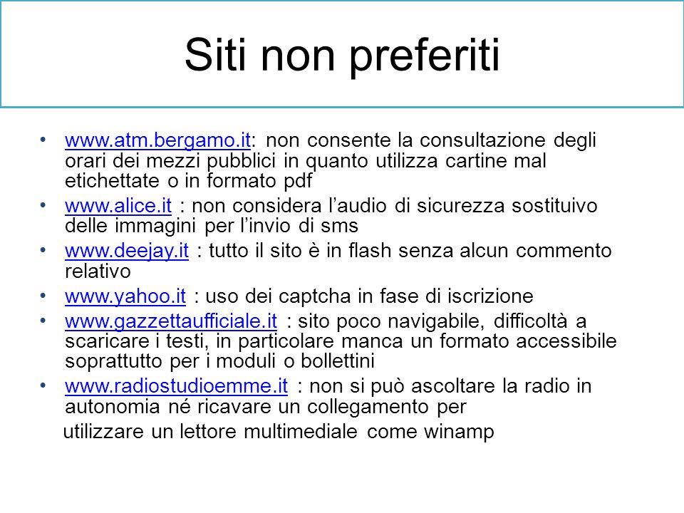 Siti non preferiti www.atm.bergamo.it: non consente la consultazione degli orari dei mezzi pubblici in quanto utilizza cartine mal etichettate o in fo
