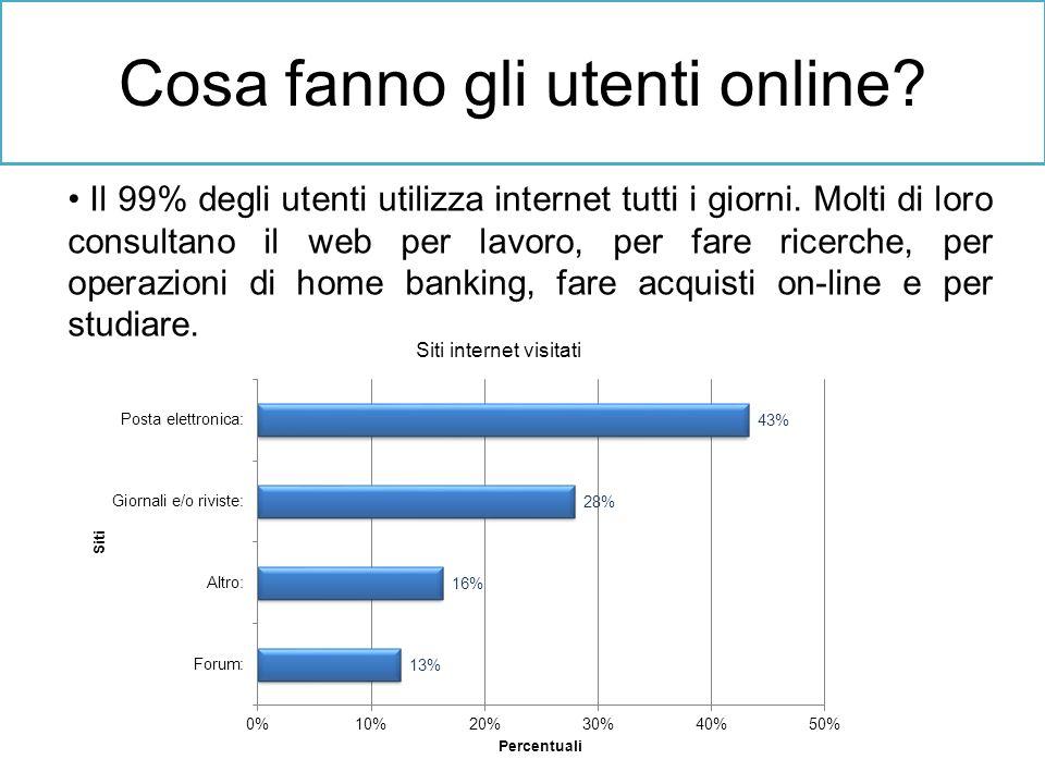 Cosa fanno gli utenti online? Il 99% degli utenti utilizza internet tutti i giorni. Molti di loro consultano il web per lavoro, per fare ricerche, per