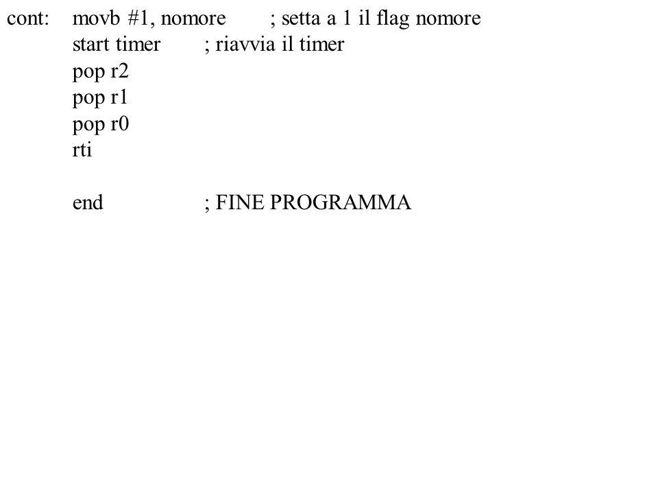 cont:movb #1, nomore; setta a 1 il flag nomore start timer; riavvia il timer pop r2 pop r1 pop r0 rti end; FINE PROGRAMMA