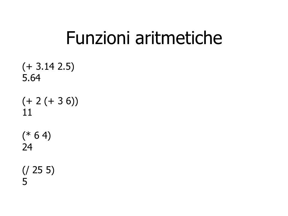 Funzioni aritmetiche (+ 3.14 2.5) 5.64 (+ 2 (+ 3 6)) 11 (* 6 4) 24 (/ 25 5) 5