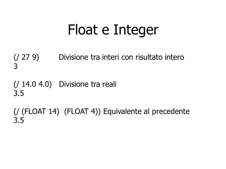 Float e Integer (/ 27 9) Divisione tra interi con risultato intero 3 (/ 14.0 4.0) Divisione tra reali 3.5 (/ (FLOAT 14) (FLOAT 4)) Equivalente al prec