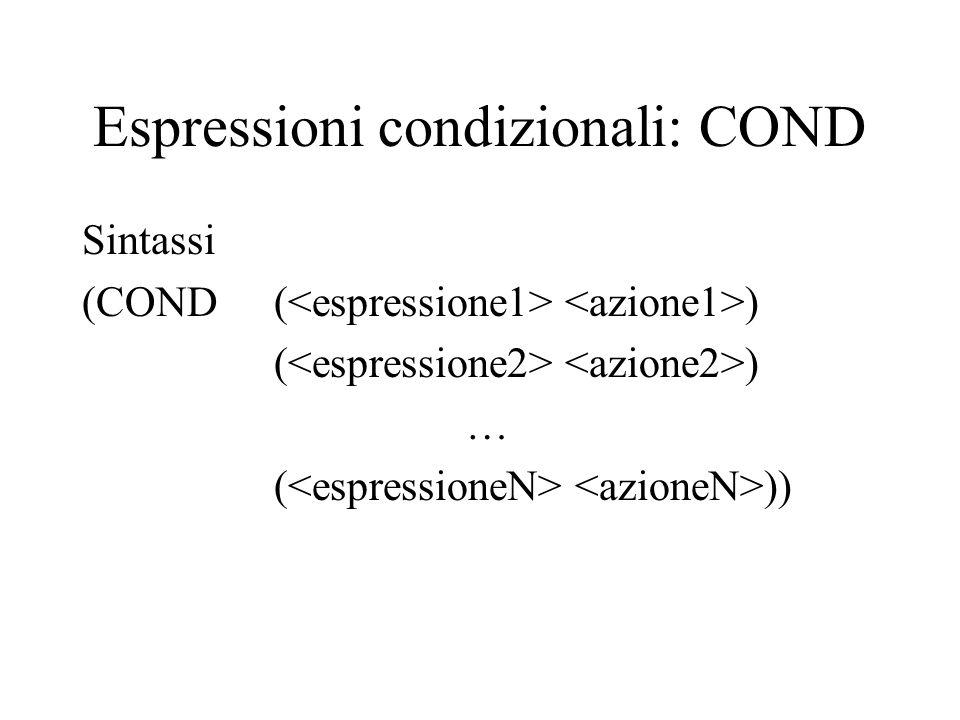 Espressioni condizionali: COND Sintassi (COND ( ) ( ) … ( ))