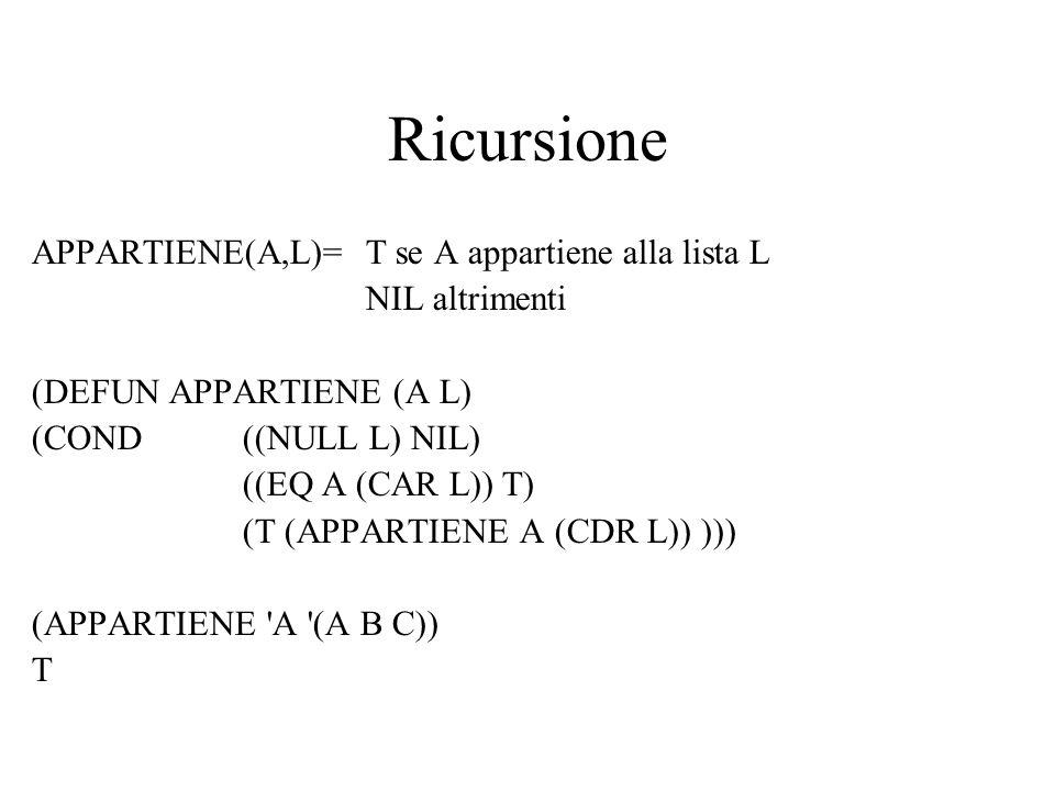 Ricursione APPARTIENE(A,L)= T se A appartiene alla lista L NIL altrimenti (DEFUN APPARTIENE (A L) (COND ((NULL L) NIL) ((EQ A (CAR L)) T) (T (APPARTIE