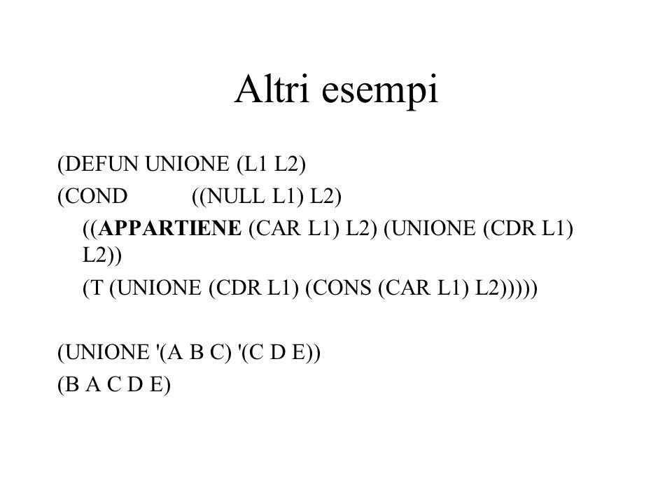 Altri esempi (DEFUN UNIONE (L1 L2) (COND((NULL L1) L2) ((APPARTIENE (CAR L1) L2) (UNIONE (CDR L1) L2)) (T (UNIONE (CDR L1) (CONS (CAR L1) L2))))) (UNI
