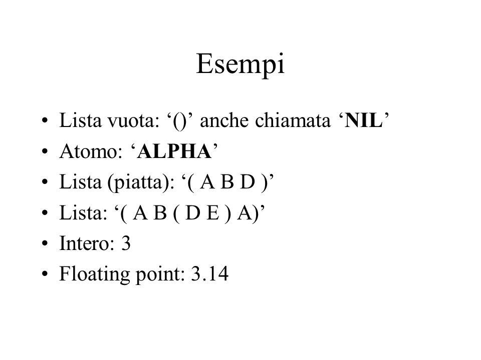 Funzioni predefinite su liste: APPEND APPEND prende n liste e restituisce la lista composta dagli elementi delle n liste (APPEND (1 2) (3 4)) (1 2 3 4) (APPEND (1 2) (CDR (1 2))) (1 2 CDR (1 2))