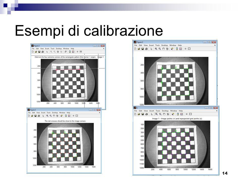 13 Calibrazione Si è fatto ricorso al Calibration Toolbox Uso del pattern scacchiera Set di foto da diverse angolazioni Estrazione dei parametri intri