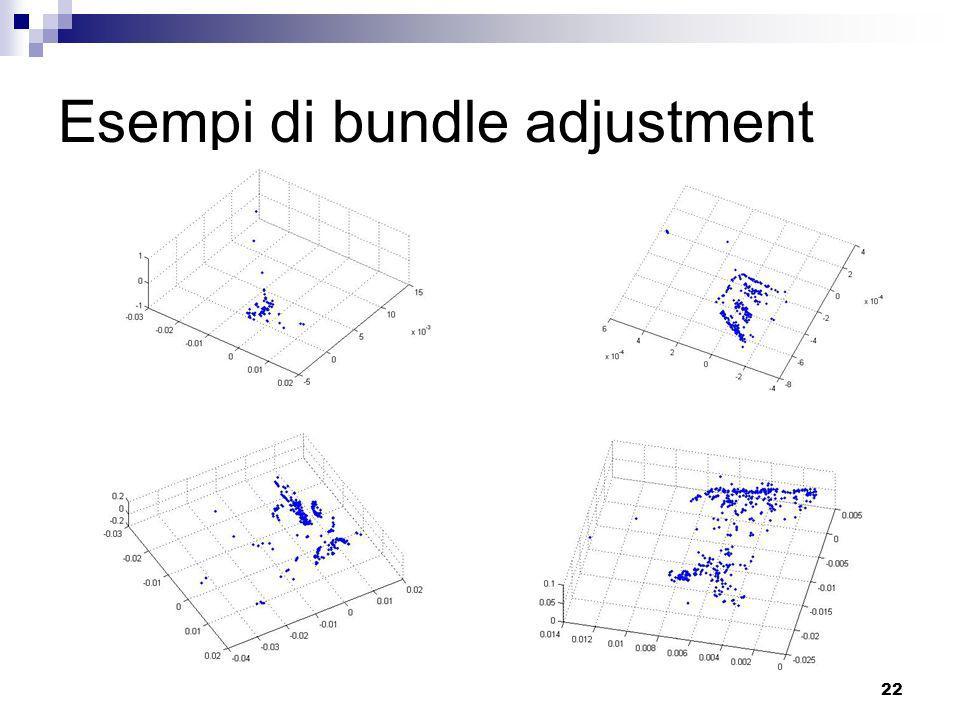 21 Bundle adjustment P3 i ---i-esimo punto 3d P j ---matrice di proiezione della j-esima coppia P2 j,i ---punto 2d riferito a P3i nellimmagine j 3D po
