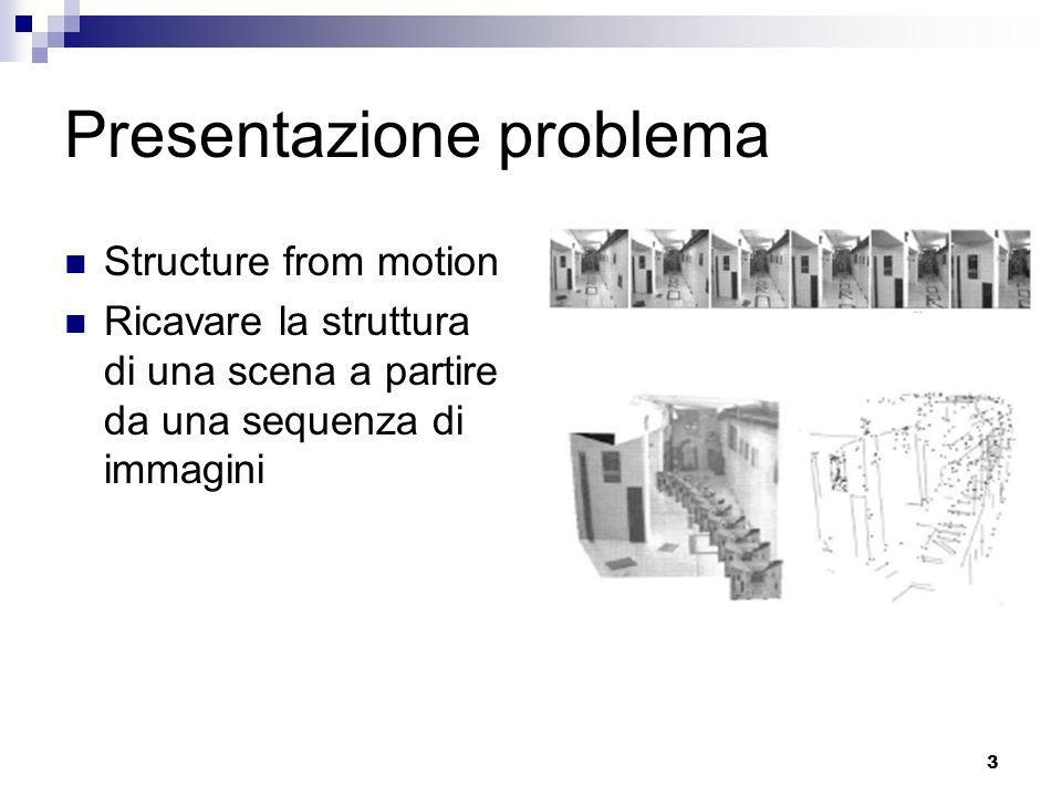2 Contenuti Presentazione del problema Sift & Correlazione Matrice fondamentale Calibrazione Triangolazione Bundle adjustment Metric upgrade Approcci