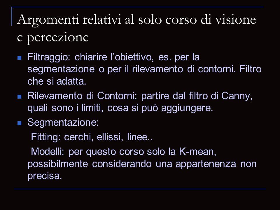 Argomenti relativi al solo corso di visione e percezione Filtraggio: chiarire lobiettivo, es.