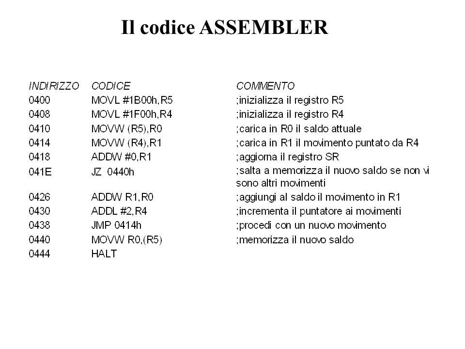 Il codice ASSEMBLER