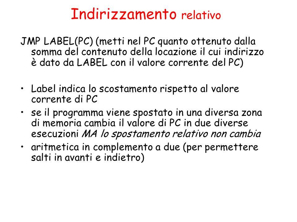 Indirizzamento relativo JMP LABEL(PC) (metti nel PC quanto ottenuto dalla somma del contenuto della locazione il cui indirizzo è dato da LABEL con il