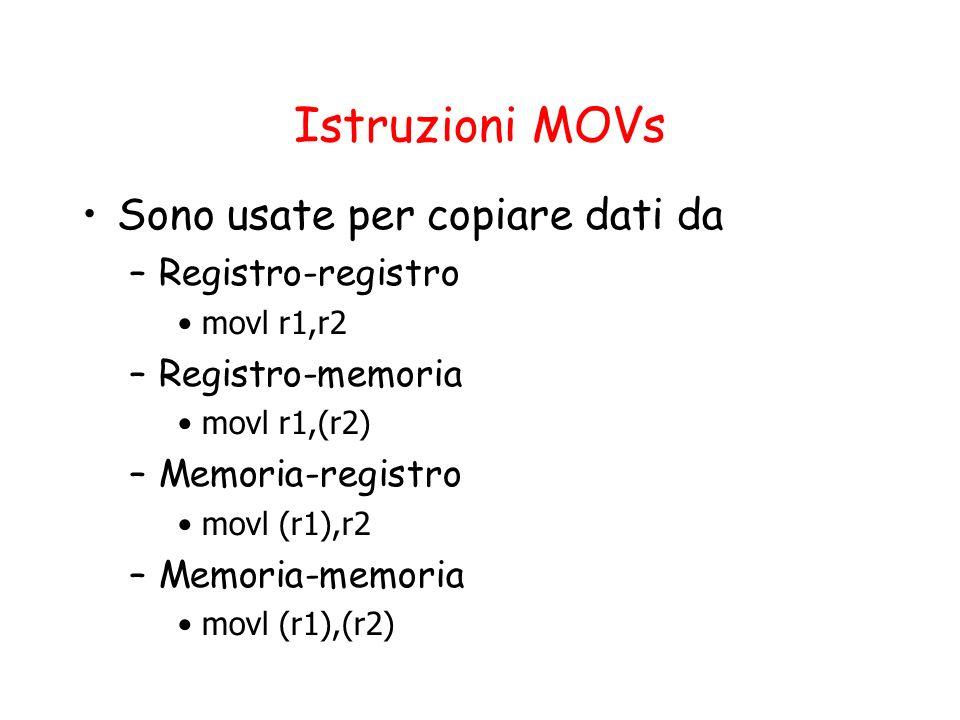 Istruzioni MOVs Sono usate per copiare dati da –Registro-registro movl r1,r2 –Registro-memoria movl r1,(r2) –Memoria-registro movl (r1),r2 –Memoria-memoria movl (r1),(r2)