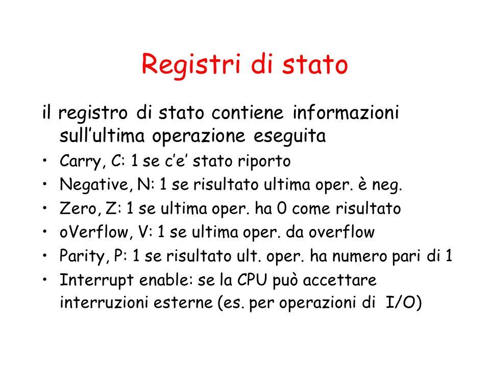 Registri di stato il registro di stato contiene informazioni sullultima operazione eseguita Carry, C: 1 se ce stato riporto Negative, N: 1 se risultato ultima oper.