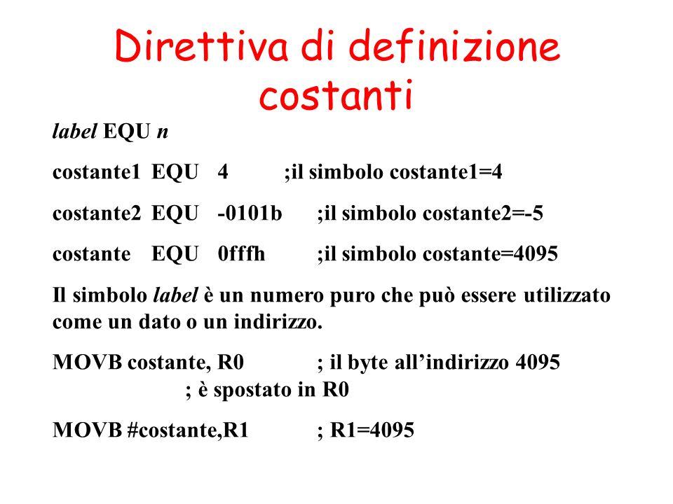 Direttiva di definizione costanti label EQU n costante1 EQU 4;il simbolo costante1=4 costante2 EQU -0101b ;il simbolo costante2=-5 costante EQU 0fffh;il simbolo costante=4095 Il simbolo label è un numero puro che può essere utilizzato come un dato o un indirizzo.