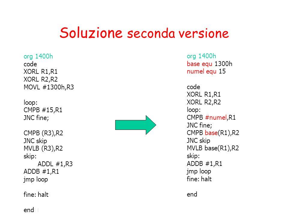 Soluzione seconda versione org 1400h code XORL R1,R1 XORL R2,R2 MOVL #1300h,R3 loop: CMPB #15,R1 JNC fine; CMPB (R3),R2 JNC skip MVLB (R3),R2 skip: ADDL #1,R3 ADDB #1,R1 jmp loop fine:halt end org 1400h base equ 1300h numel equ 15 code XORL R1,R1 XORL R2,R2 loop: CMPB #numel,R1 JNC fine; CMPB base(R1),R2 JNC skip MVLB base(R1),R2 skip: ADDB #1,R1 jmp loop fine:halt end