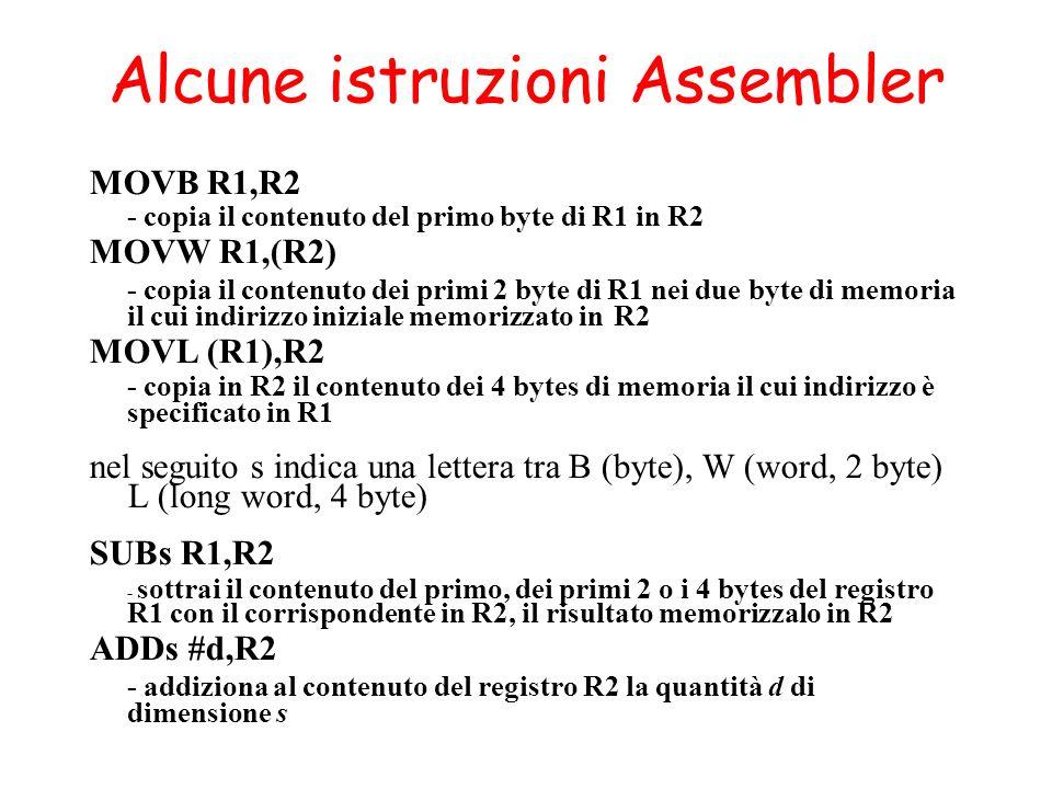 Alcune istruzioni Assembler MOVB R1,R2 - copia il contenuto del primo byte di R1 in R2 MOVW R1,(R2) - copia il contenuto dei primi 2 byte di R1 nei due byte di memoria il cui indirizzo iniziale memorizzato in R2 MOVL (R1),R2 - copia in R2 il contenuto dei 4 bytes di memoria il cui indirizzo è specificato in R1 nel seguito s indica una lettera tra B (byte), W (word, 2 byte) L (long word, 4 byte) SUBs R1,R2 - sottrai il contenuto del primo, dei primi 2 o i 4 bytes del registro R1 con il corrispondente in R2, il risultato memorizzalo in R2 ADDs #d,R2 - addiziona al contenuto del registro R2 la quantità d di dimensione s