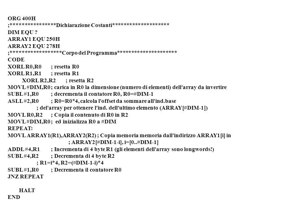 ORG 400H ;****************Dichiarazione Costanti******************** DIM EQU .