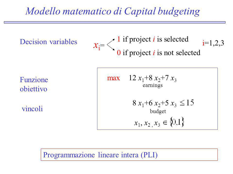 Modello matematico di Capital budgeting Funzione obiettivo 12 x 1 +8 x 2 +7 x 3 max earnings Decision variables xi=xi= 1 if project i is selected 0 if