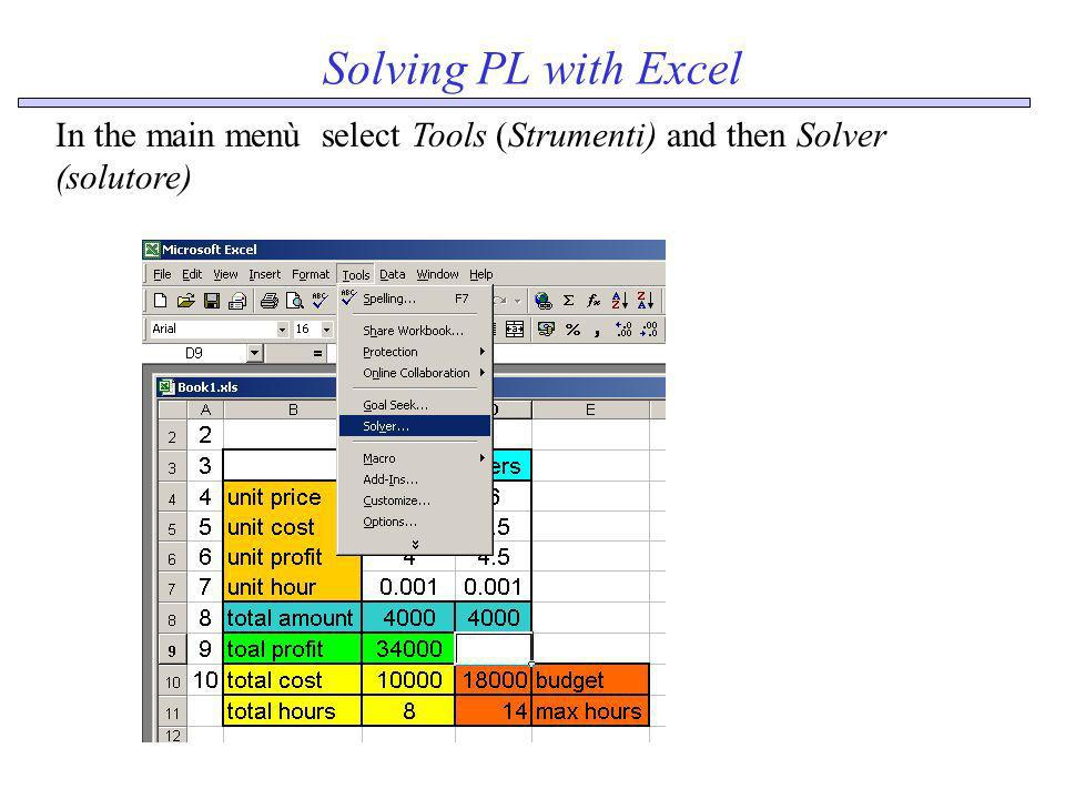 Solving PL with Excel In the main menù select Tools (Strumenti) and then Solver (solutore)
