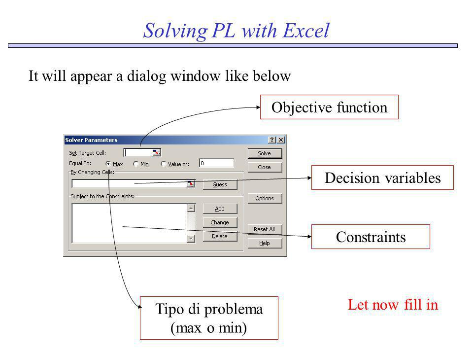 Solving PL with Excel It will appear a dialog window like below Objective function Tipo di problema (max o min) Decision variablesConstraints Let now